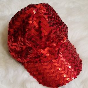 Red sequin glamour hat.
